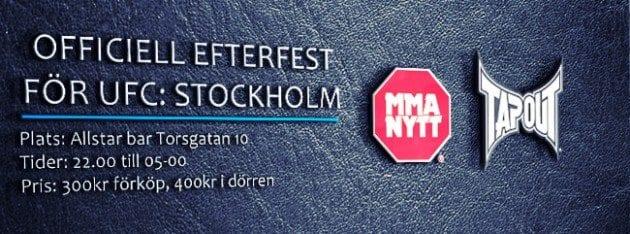 Biljetterna till efterfesten för UFC: Stockholm 2013, i samarbete med TapouT, släpps imorgon