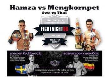 """Hamza Rifi Bougamza vs Kai Mengkornpet på """"Fightnight 08"""" på Stadion 17:e augusti"""
