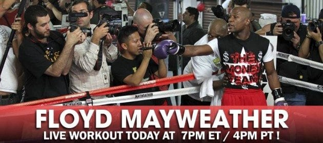 "Floyd ""Money"" Mayweather media day workout (video)"