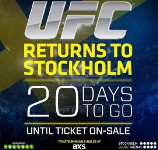 Biljetter till UFC Fight Night 53: Stockholm släpps den 22 augusti
