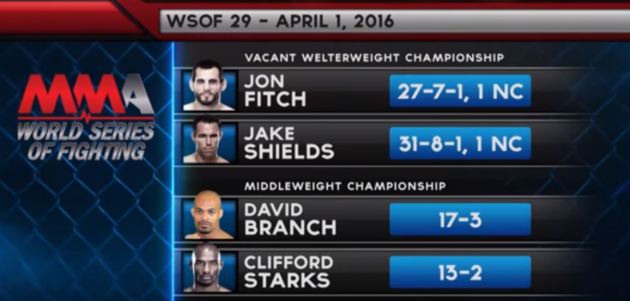 Titelmatcherna 1 April 2016 i WSOF 29