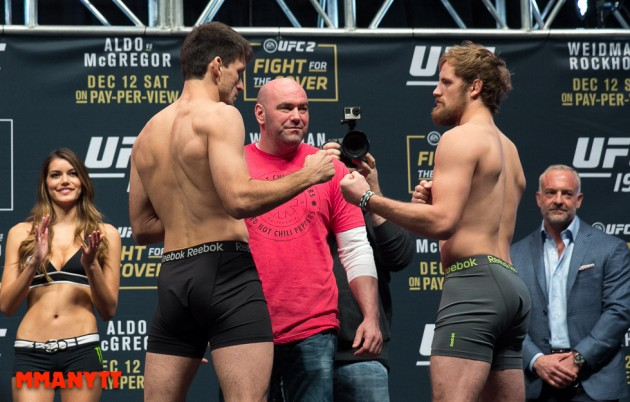 Demian Maia Gunnar Nelson UFC 194 Weigh In Las Vegas MMAnytt Photo Mazdak Cavian