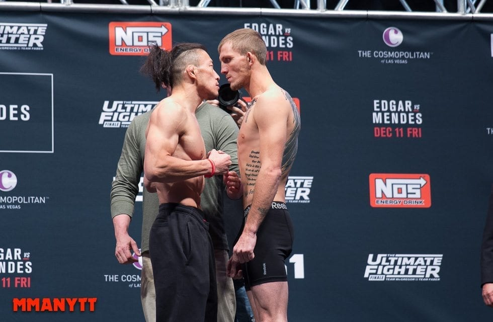 Staredown Tatsuya Kawajiri Jason Knight UFC The Ultimate Fighter Finale Weigh-in  MMAnytt Photo Mazdak Cavian-32