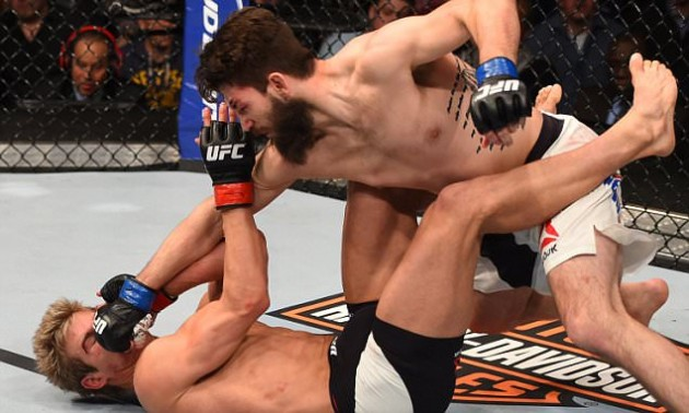NEWARK, NJ - JANUARY 30: Bryan Barberena (top) punches Sage Northcutt in their welterweight bout during the UFC Fight Night event at the Prudential Center on January 30, 2016 in Newark, New Jersey. (Photo by Josh Hedges/Zuffa LLC/Zuffa LLC via Getty Images)