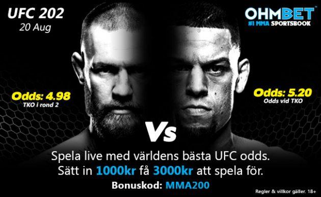 UFC 202: Nate Diaz vs. Conor McGregor 2 – Matchkortet, Tiderna och Oddsen
