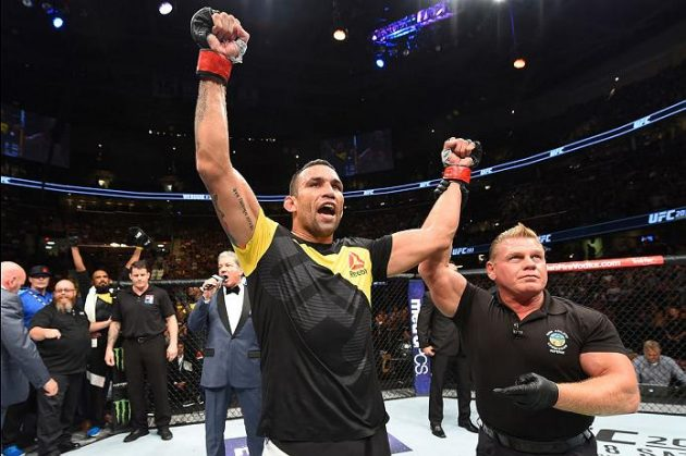 20160911_ufc203_jh_062CLEVELAND, OH - SEPTEMBER 10: Fabricio Werdum of Brazil celebrates after defeating Travis Browne in their heavyweight bout during the UFC 203 event at Quicken Loans Arena on September 10, 2016 in Cleveland, Ohio. (Photo by Josh Hedges/Zuffa LLC/Zuffa LLC via Getty Images)