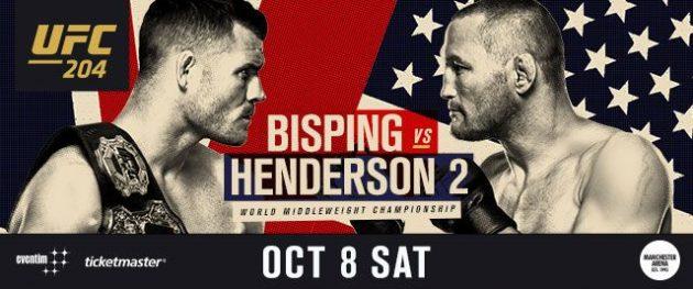 UFC 204: Bisping vs. Henderson II – Matchkortet, Tiderna och Oddsen