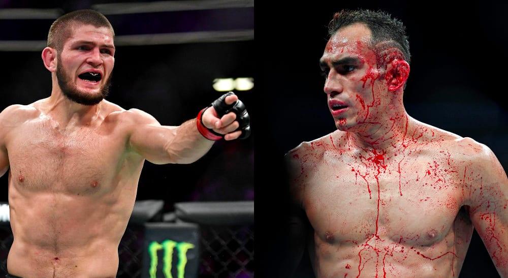 Left: UFC 229: Khabib Nurmagomedov / © Stephen R. Sylvanie-USA TODAY Sports Right: UFC 229: Tony Ferguson / © Stephen R. Sylvanie-USA TODAY Sports