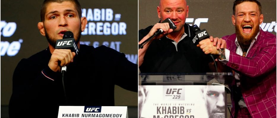 Khabib Nurmagomedov, Dana White, Conor McGregor © Noah K. Murray USA Today Sports