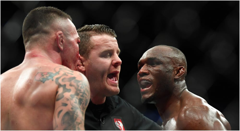Colby Covington, Kamaru Usman (© Stephen R. Sylvanie USA Today Sports)