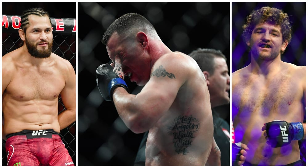 Jorge Masival, Colby Covington, Ben Askren (© Stephen R. Sylvanie-USA TODAY Sports)