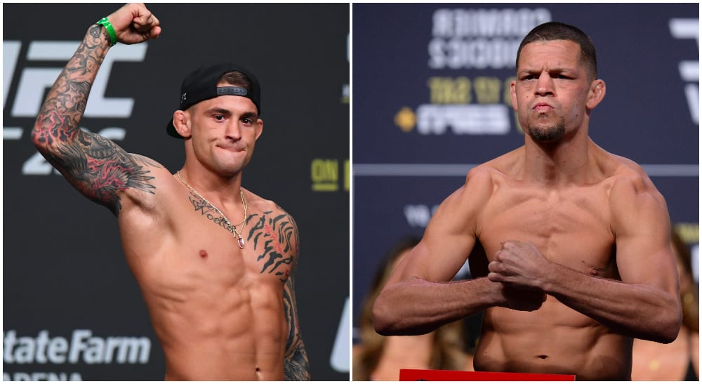 Dustin Poirier / Nate Diaz (© Adam Hagy / © Gary A. Vasquez-USA TODAY Sports)