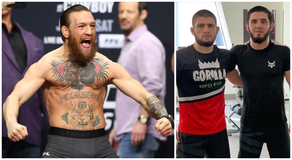 Conor McGregor Khabib Nurmagomedov Islam Makhachev (© Mark J. Rebilas-USA TODAY Sports & islam_makha