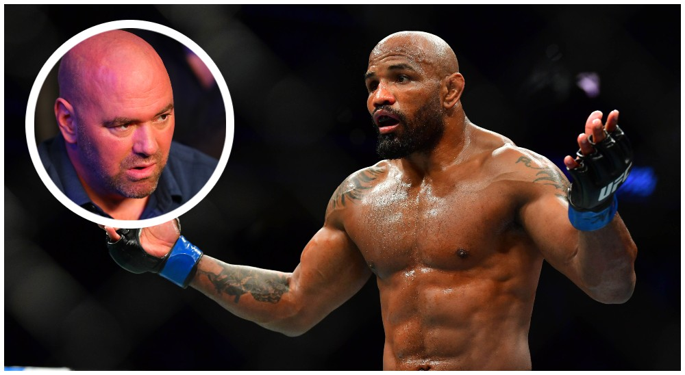 Dana White Yoel Romero (© Stephen R. Sylvanie © Mark J. Rebilas-USA TODAY Sports)