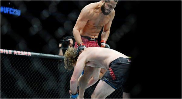 Jorge Masvidal skrev in sig i historieböckerna genom att knocka Ben Askren på 5 sekunder i samband med UFC 239 Jones vs. Santos den 6 juli 2019. Foto: Stephen R. Sylvanie-USA TODAY Sports