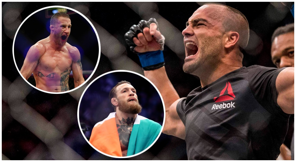 Eddie Alvarez Justin Gaethje Conor McGregor © Joshua Dahl @Jasen Vinlove @Mark J. R-USA TODAY Sports