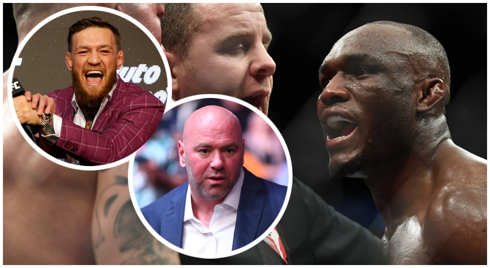 Kamaru Usman Conor McGregor Dana White (© Noah K. Murray & © Stephen R. Sylvanie-USA TODAY Sports)