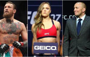 Dana White Conor McGregor Ronda Rousey George St-Pierre (© Mark J. Rebilas & © Joe Camporeale-USA TODAY Sports)