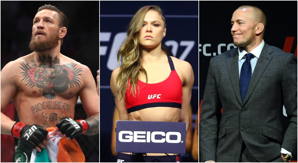 Dana White Conor McGregor Ronda Rousey George St-Pierre (© Mark J. Rebilas & © Joe Camporeale-USA TODAY Sports)