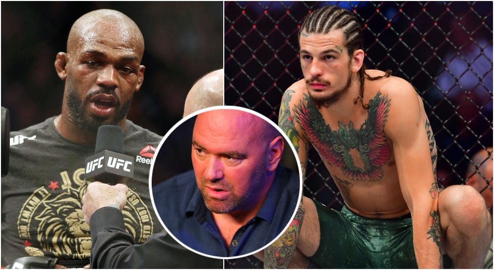 Jon Jones Dana White Sean O'Malley (© Thomas Shea © Mark J. Rebilas © USA TODAY via Imagn Content Se