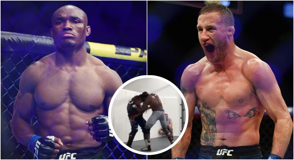 Justin Gaethje Kamaru Usman (@Jason Vinlove & © Stephen R. Sylvanie-USA TODAY Sports)