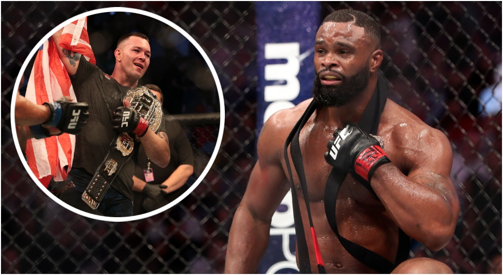 Tyron Woodley Colby Covington (© Kevin Jairaj & © Vincent Carchietta-USA TODAY Sports)
