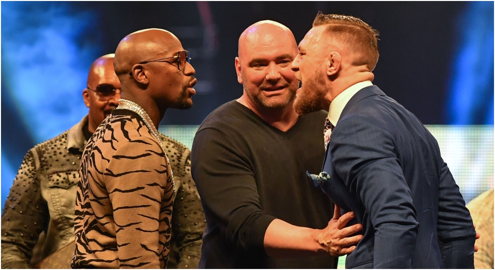 Floyd Mayweather Jr., Dana White & Conor McGregor © Steve Flynn-USA TODAY Sports