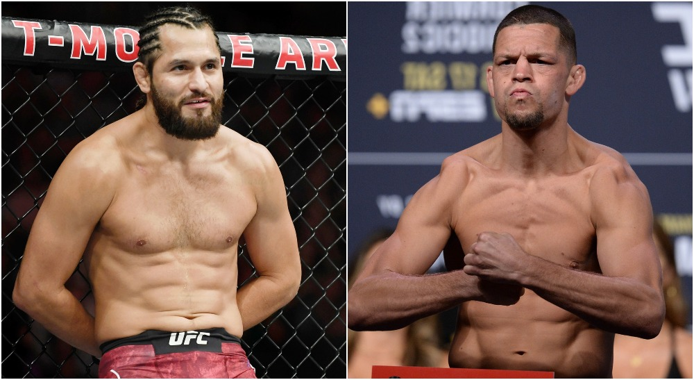 Jorge Masvidal, Nate Diaz (© Stephen R. Sylvanie & © Gary A. Vasquez-USA TODAY Sports)