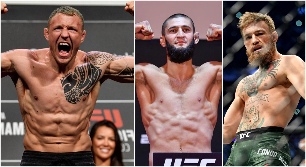 Jack Hermansson Khamzat Chimaev Conor McGregor (© Stephen R. Sylvanie-USA TODAY Sports)