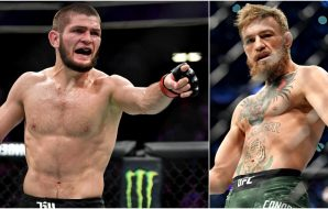 Khabib Nurmagomedov, Conor McGregor (© Stephen R. Sylvanie-USA TODAY Sports)