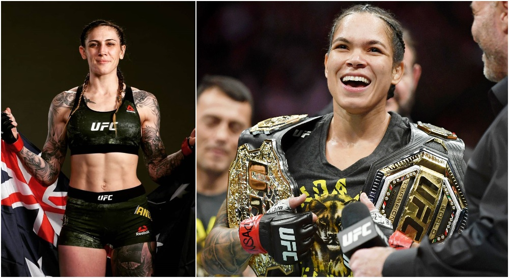 Megan Anderson Amanda Nunes (© Stephen R. Sylvanie-USA TODAY Sports)