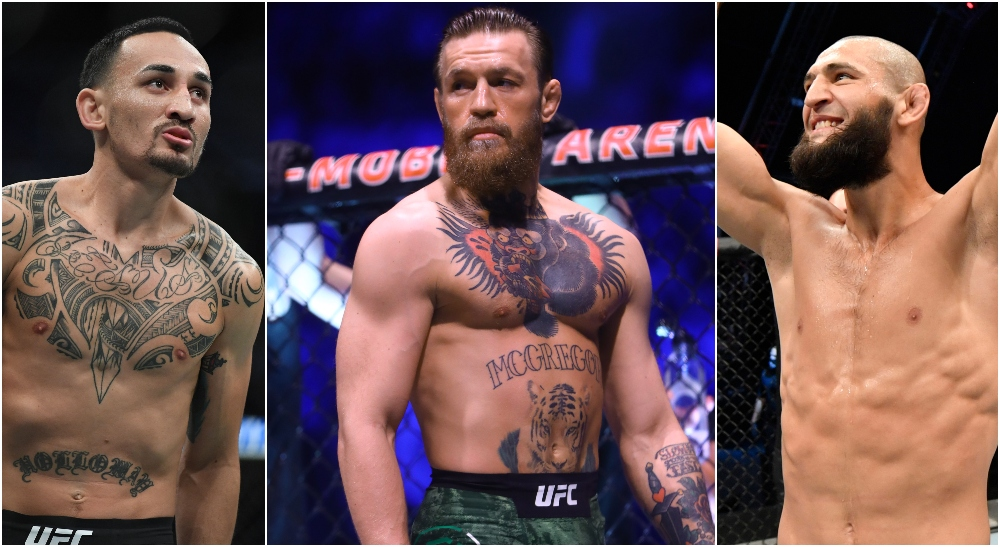 Holloway, Conor McGregor, Khamzat (© Stephen R. Sylvanie, Mark J. Rebilas & USA TODAY Sports)