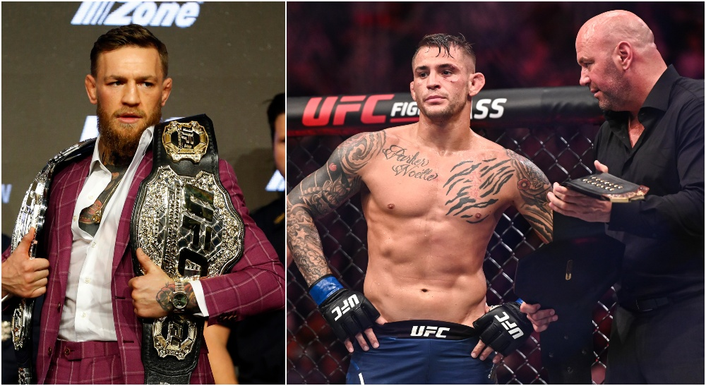 Conor McGregor, Dustin Poirier. © Per Haljestam-USA TODAY Sports - © Noah K. Murray-USA TODAY Sports