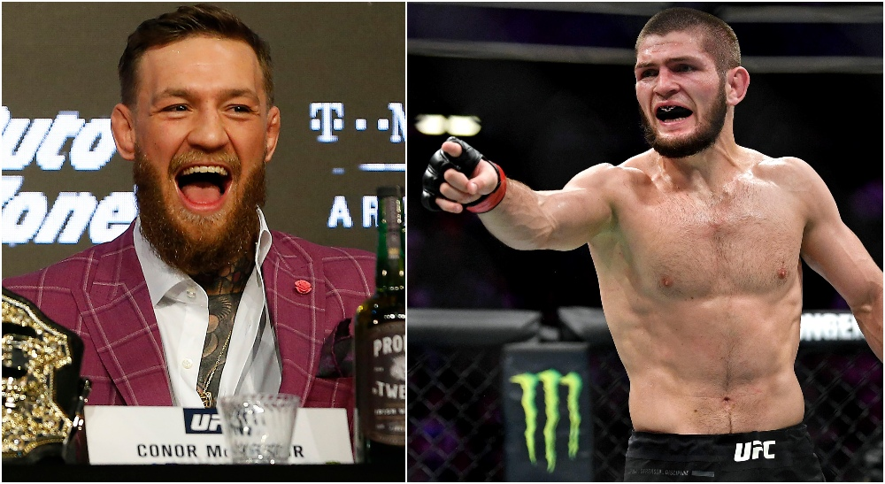 Conor McGregor Khabib Nurmagomedov (© Noah K. Murray, © Stephen R. Sylvanie-USA TODAY Sports)