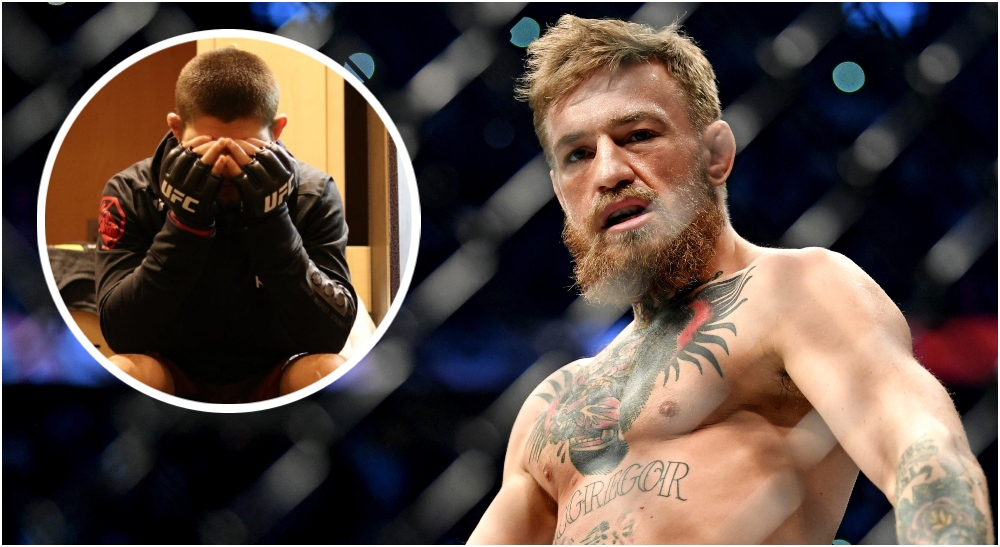 Conor McGregor Khabib Nurmagomedov (© Stephen R. Sylvanie-USA TODAY Sports)