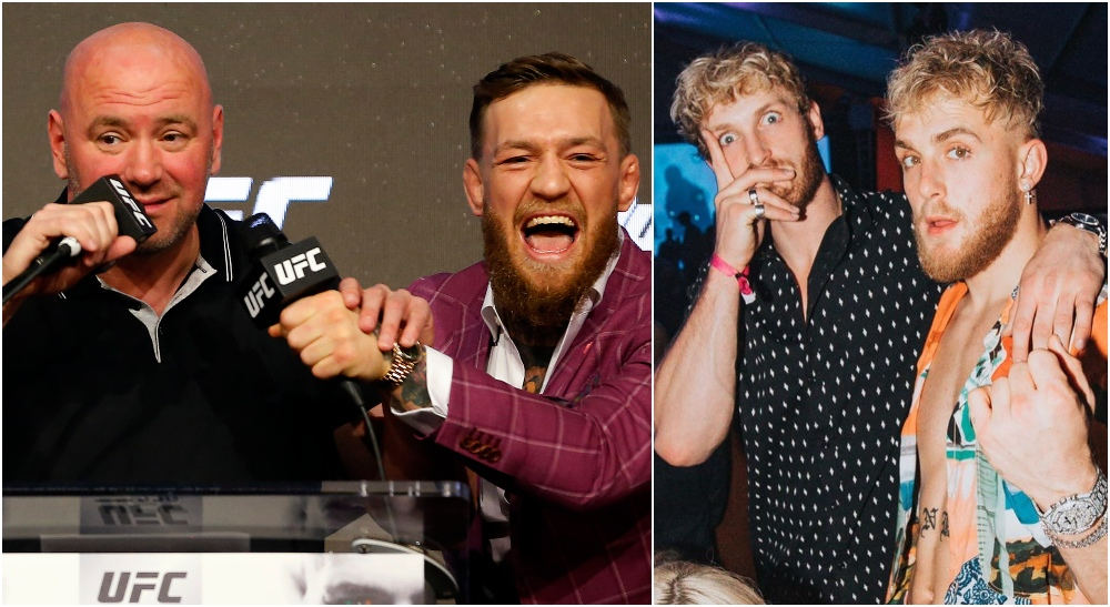 Dana White Conor McGregor Logan Paul Jake Paul (© Noah K. Murray-USA TODAY Sports)