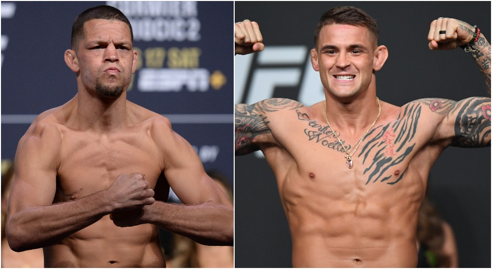 Nate Diaz Dustin Poirier (© Gary A. Vasquez, © Adam Hagy-USA TODAY Sports)