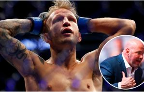 T.J Dillashaw Dana White (© Mark J. Rebilas-USA TODAY Sports)
