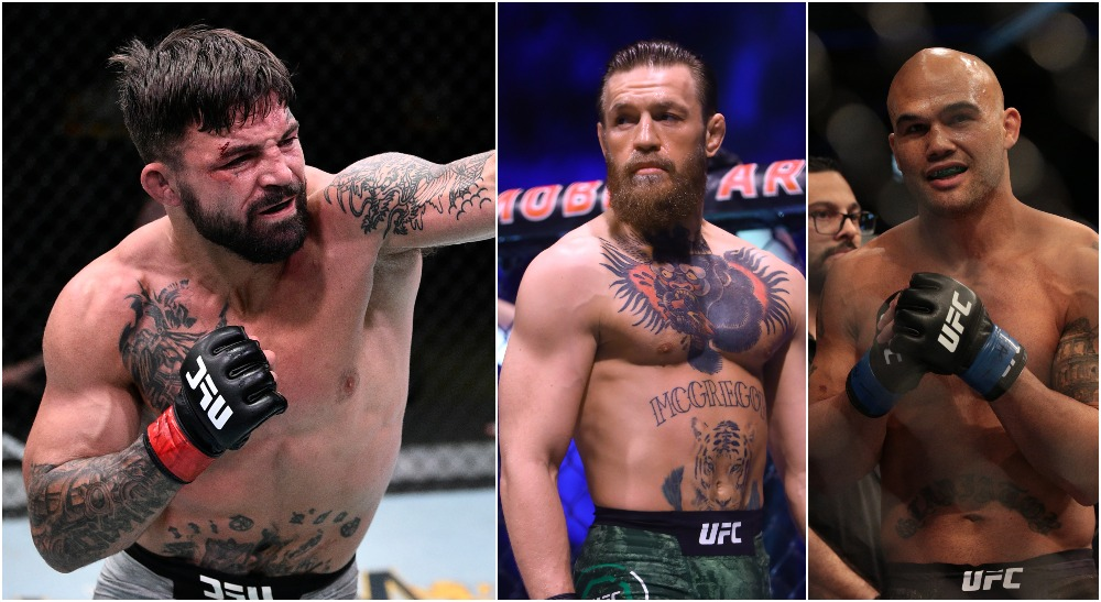 Mike Perry, Conor McGregor, Robbie Lawler (Chris Unger_Zuffa LLC via USA TODAY Sports, © Mark J. Reb