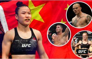Zhang Weili, Smith, Weidman, Shevchenko (Sylvanie, Vinlove, Penner, Szczerbowski-USA TODAY Sports)