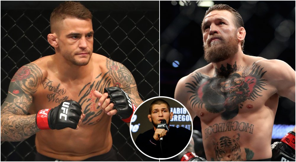 Dustin Poirier Conor McGregor Khabib (© Mark J. Rebilas, © Noah K. Murray-USA TODAY Sports)