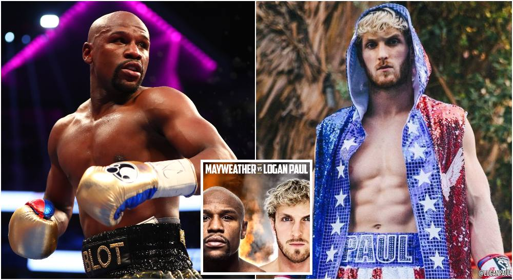 Floyd Mayweather vs Logan Paul (© Mark J. Rebilas-USA TODAY Sports + IG_ @LoganPaul)