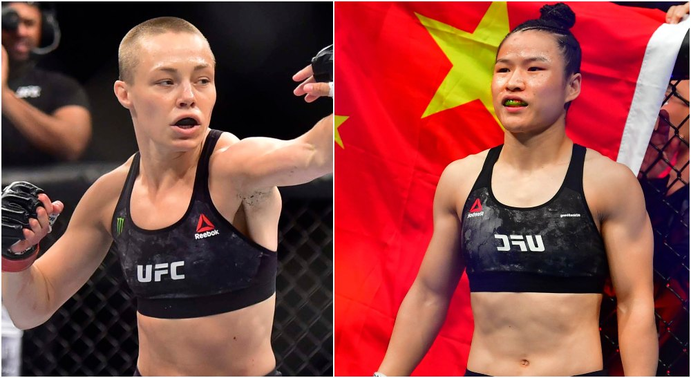 Rose Namajunas Zhang Weili (© Stephen R. Sylvanie, © Jason Silva-USA TODAY Sports)