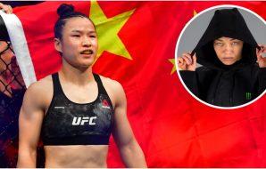 Zhang Weili Rose Namajunas (© Stephen R. Sylvanie-USA TODAY Sports + Instagram_ @hansmolenkamp)