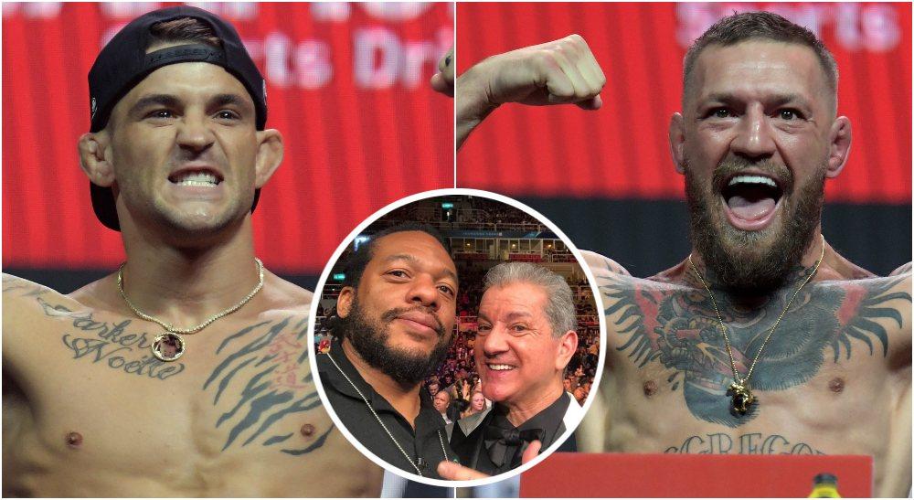 Conor McGregor Dustin Poirier Herb Dean UFC (© Gary A. Vasquez-USA TODAY Sports)