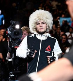 TAMPA, FL - APRIL 16: Khabib Nurmagomedov prepares to enter the Octagon before facing Darrell Horcher in their lightweight bout during the UFC Fight Night event at Amalie Arena on April 16, 2016 in Tampa, Florida. (Photo by Jeff Bottari/Zuffa LLC/Zuffa LLC via Getty Images)